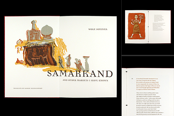Photo collage of the Red Butte Press edition of Samarkand and Other Markets I Have Known, by Wole Soyinka