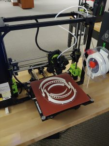 Face shields being 3d printed at the marriott library