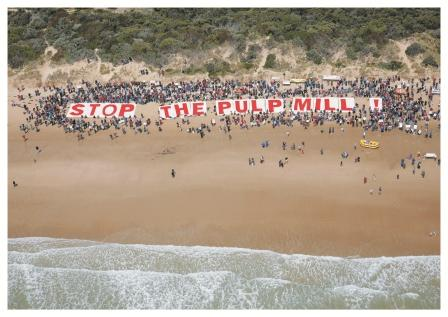 "Beach protest in Brazil to ""Stop the pulp mill!"""