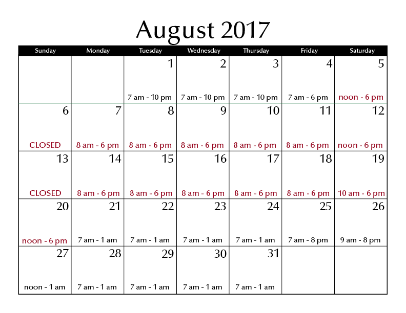 August 2017 hours