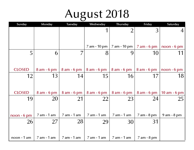August 2018 hours