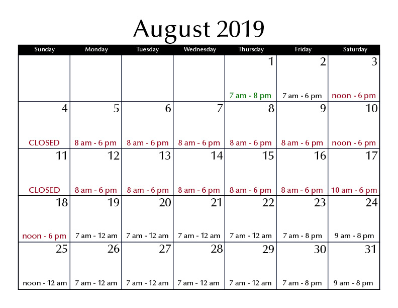 August 2019 hours