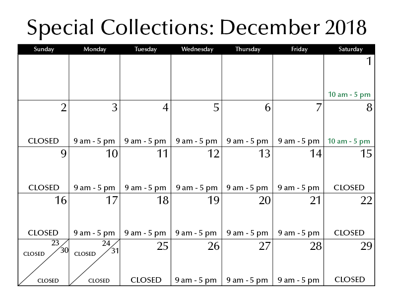 December Hours Special Collections
