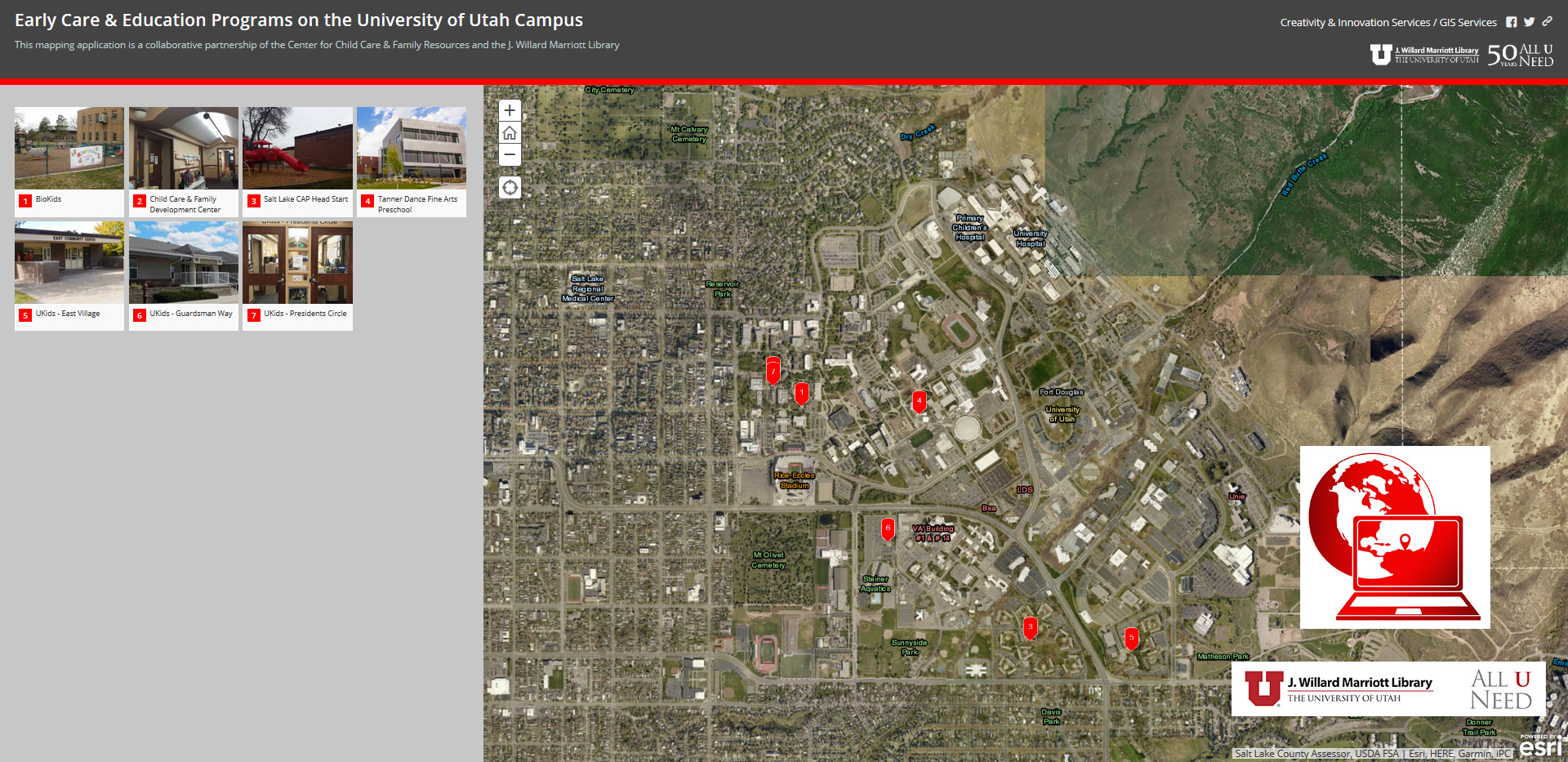Screenshot representing Child Care Center Interactive Map