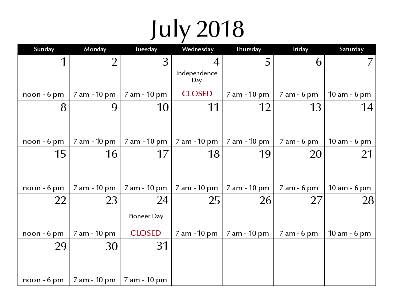 July 2018 hours