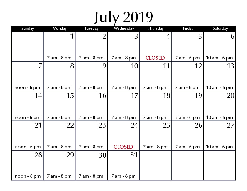 July 2019 hours