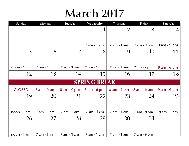 March 2017 hours