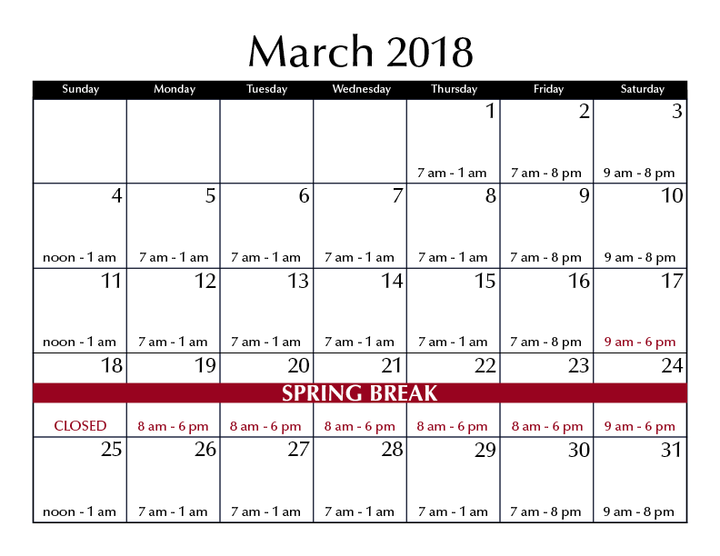 March 2018 hours