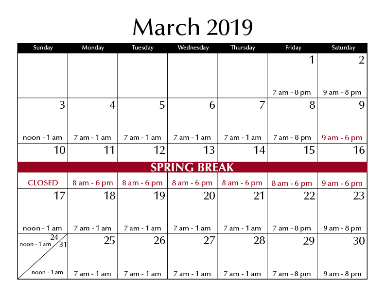 March 2019 hours