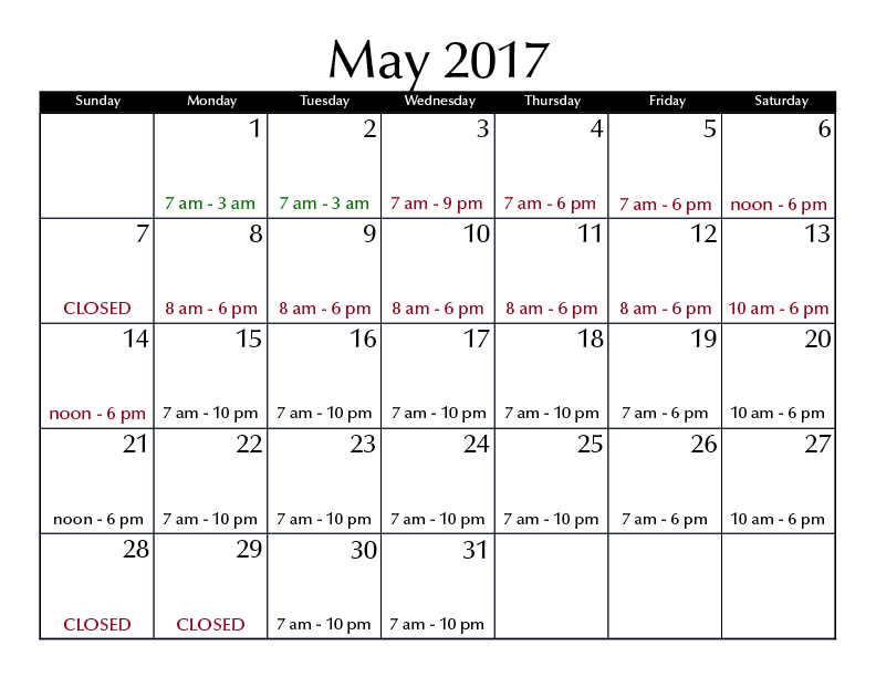 May 2017 hours
