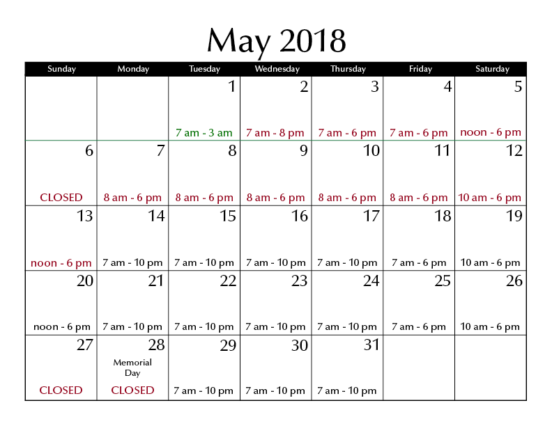 May 2018 hours
