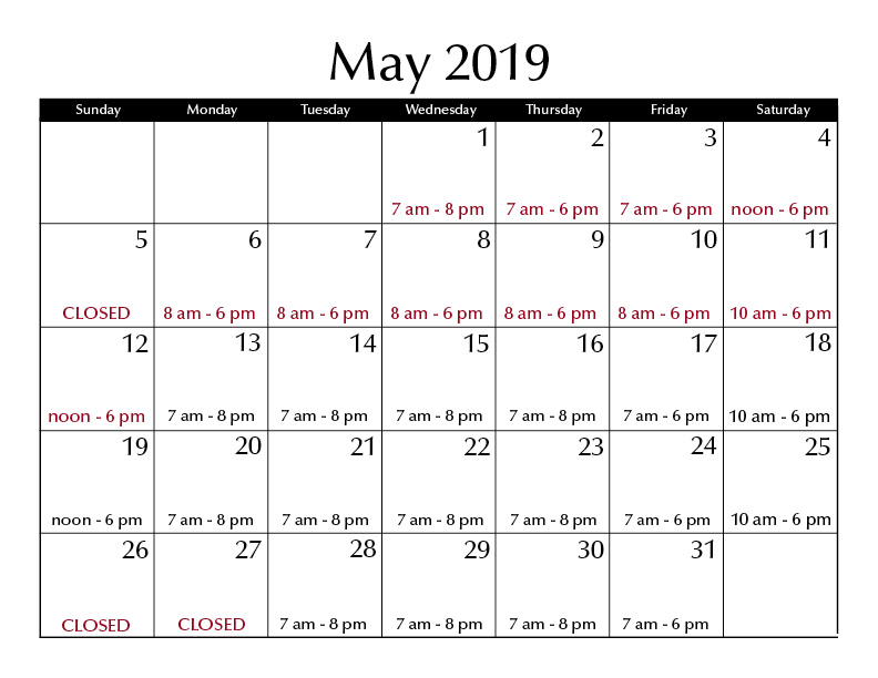 May 2019 hours