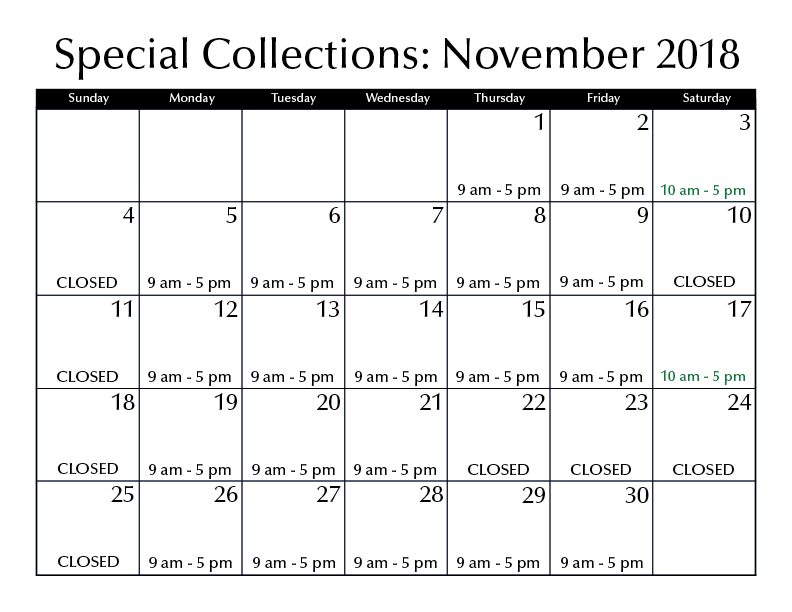 November Hours Special Collections