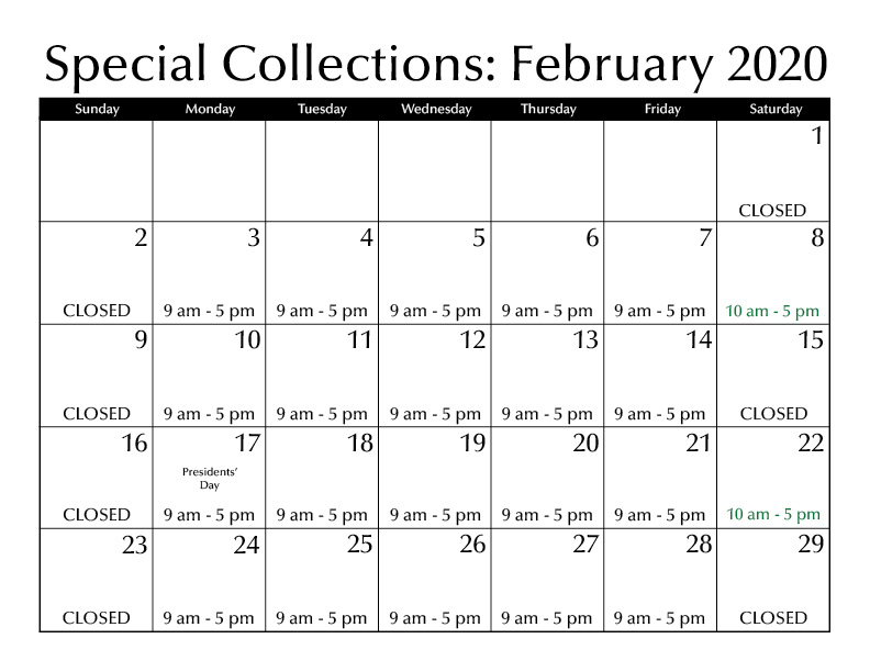 February Special Collections Hours