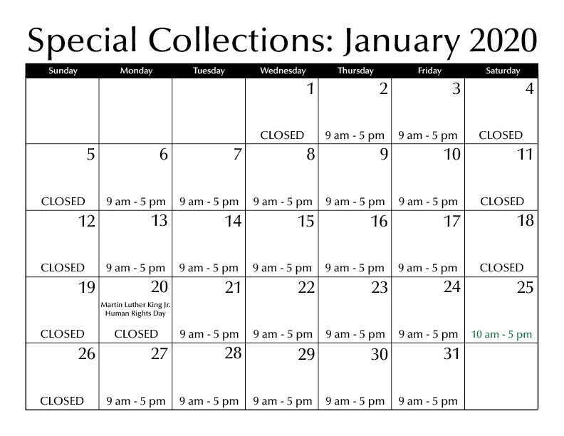 January Special Collections hours