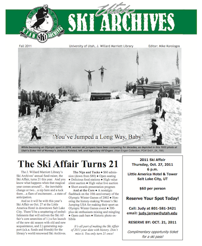 Utah Ski Archives 2011 Newsletter first page