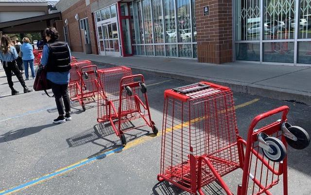 Social distancing measures to ensure shoppers maintain safe distance at store during COVID-19 pandemic.