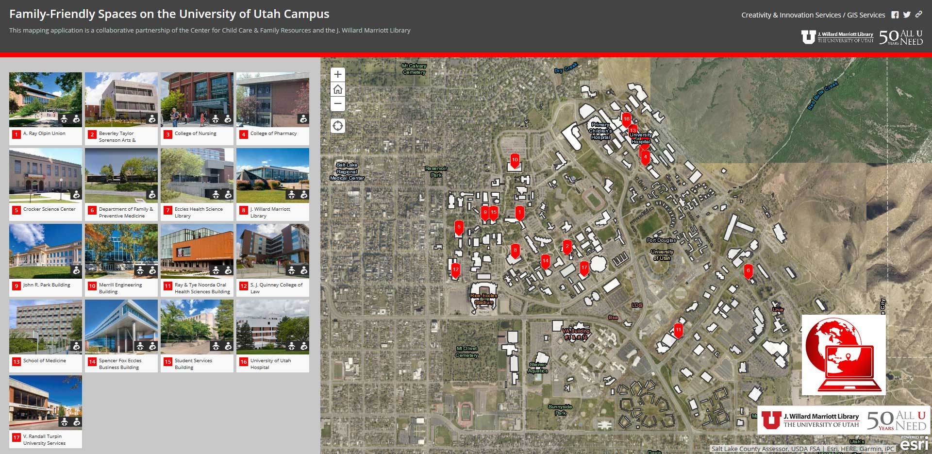 Campus Family Friendly Spaces on the University of Utah Campus