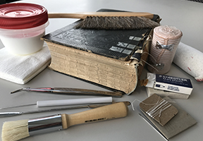 image of book repair tools and supplies