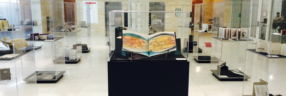 special collections gallery with artists book in display cases