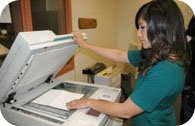 Student using copy machine