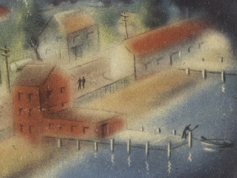 book cover of cannery row by john steinbeck shows a painted dock