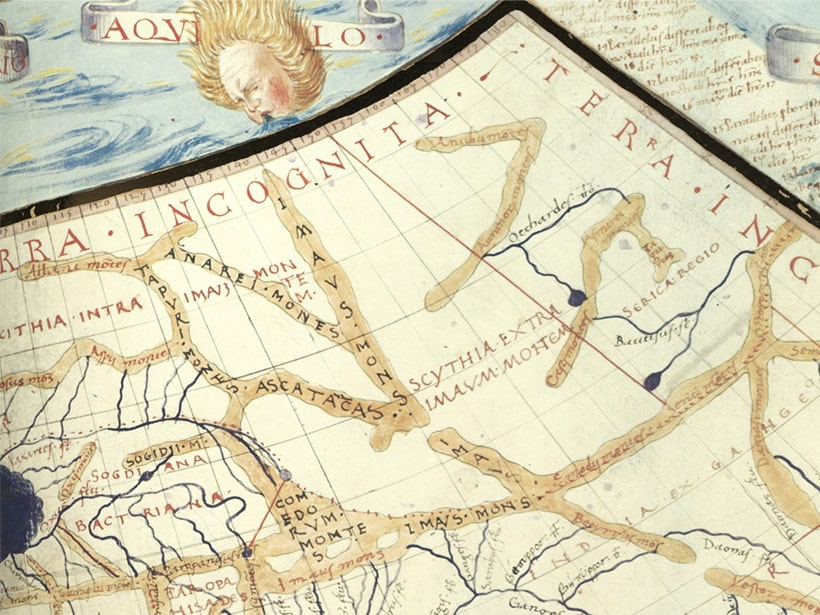 illustration of map with ancient text
