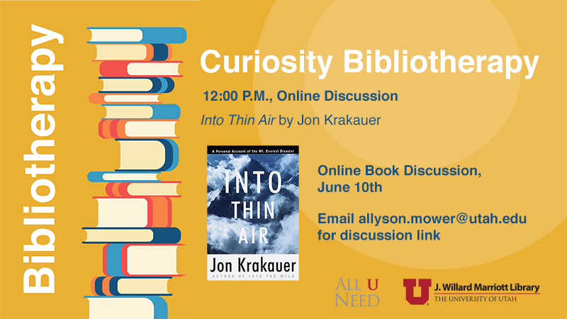 Book Club Discussion - Into Thin Air Wednesday, June 10, 2020 at 12 PM – 1 PM