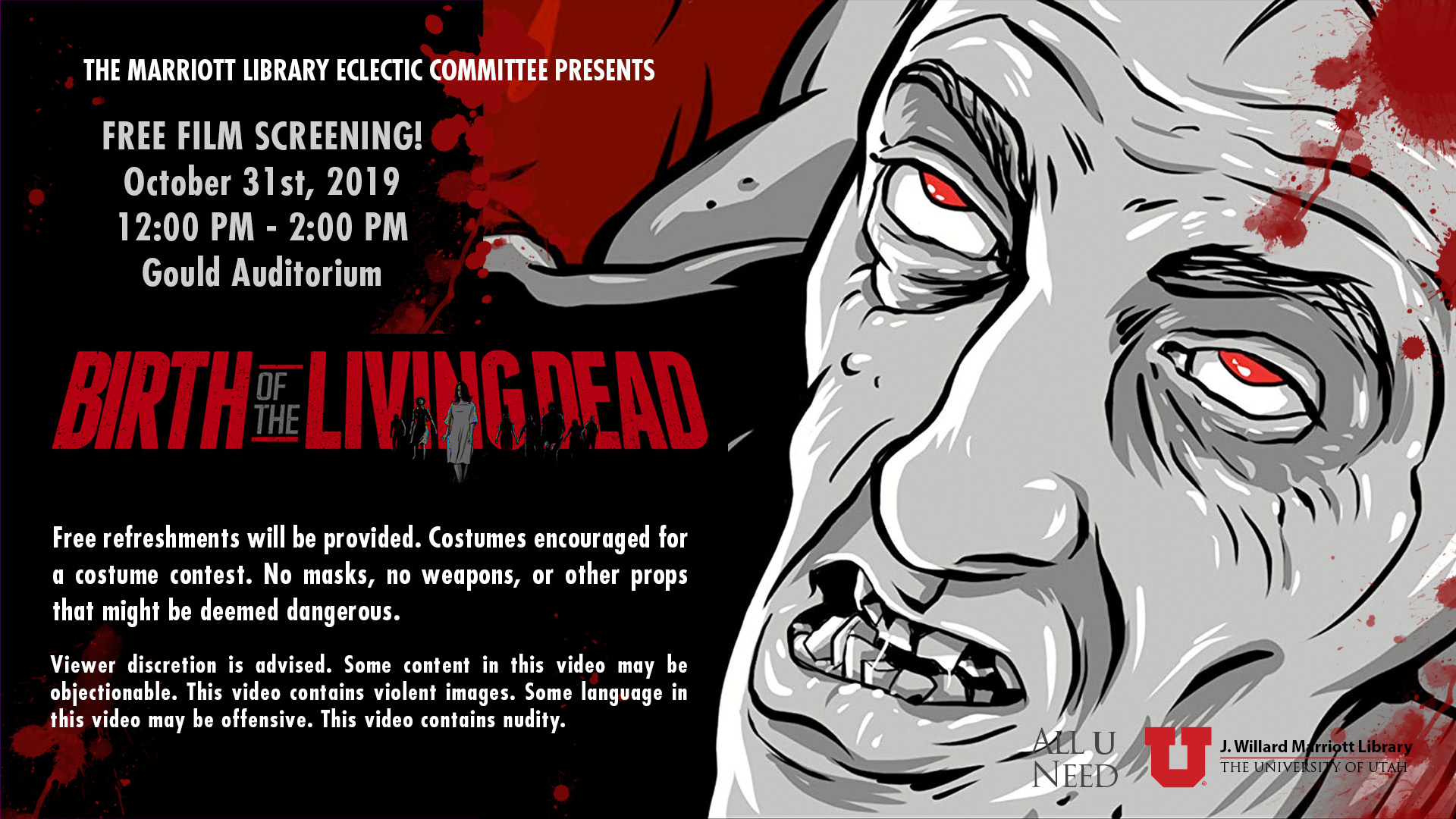 free film screen birth of the living dead october 31st 2019 12 pm to 2pm in the gould auditorium