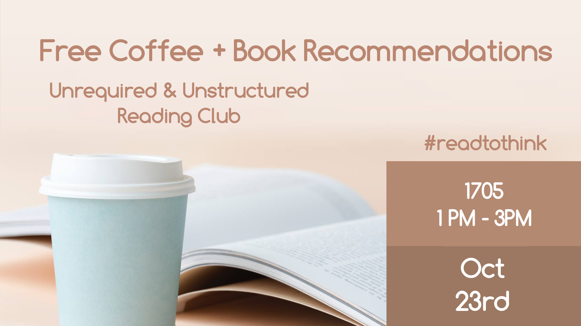 Free Coffee and Book Recommends 1705 Wednesday, October 23, 2019 at 1 PM – 3 PM
