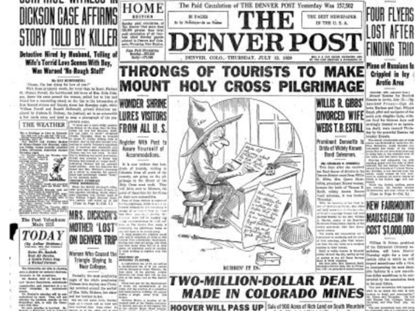 newspaper front page from the denver post