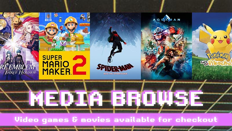 media browse video games and movies available for checkout