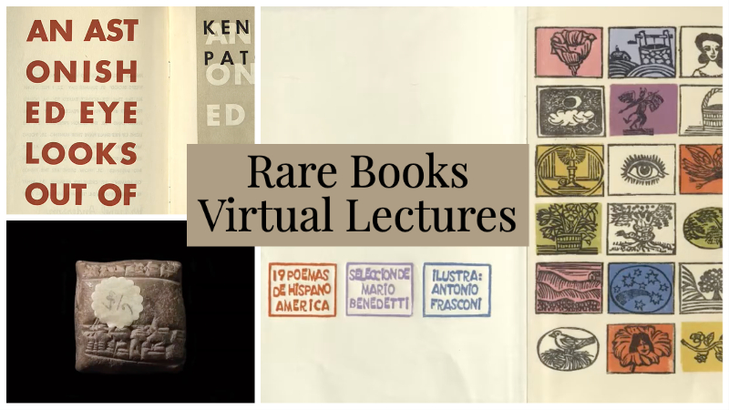 rare books virtual lectures with pictures of rare books in the background