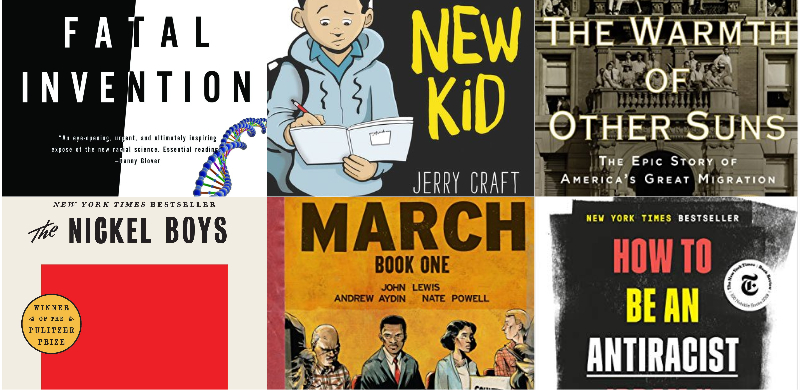 a collection of book covers written about anti-racism or are on anti-racism reading list