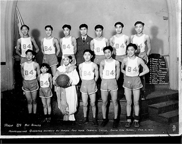 Basketball team with clown