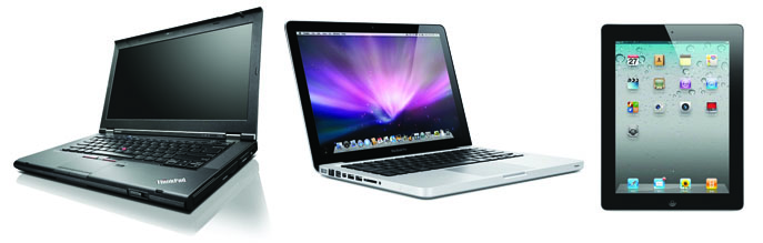 Android tablet, Lenovo ThinkPad, MacBook Pro, and iPad