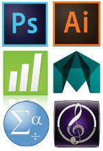 Icons for Photoshop, Illustrator, Minitab, Maya, SPSS, and Sibelius