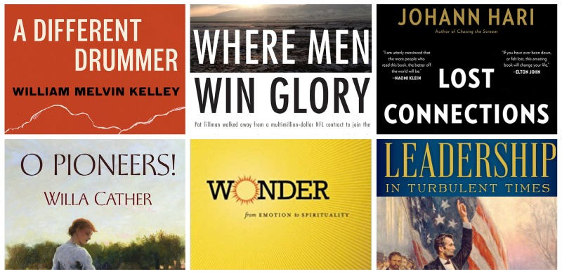 book covers that highlight leadership, community, and helping others.