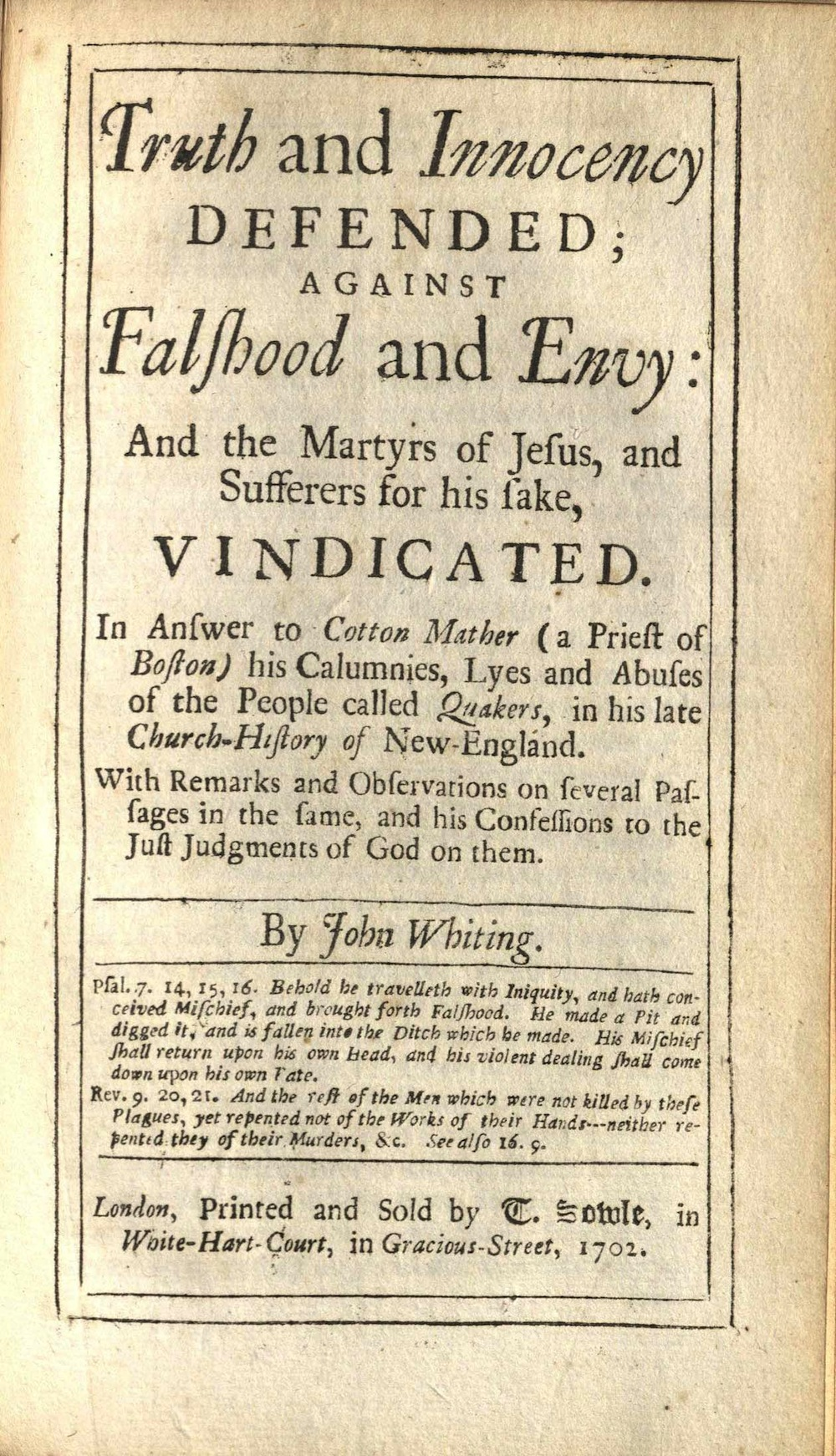 Whiting, Truth and innocency defended, 1702