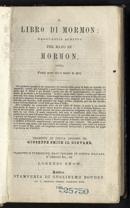Il libro di Mormon, First Edition Book of Mormon in Italian, 1852