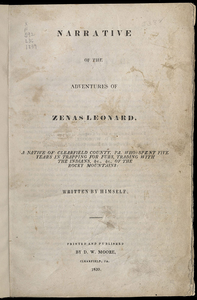 Zenas, Narrative Of The Adventures, 1839