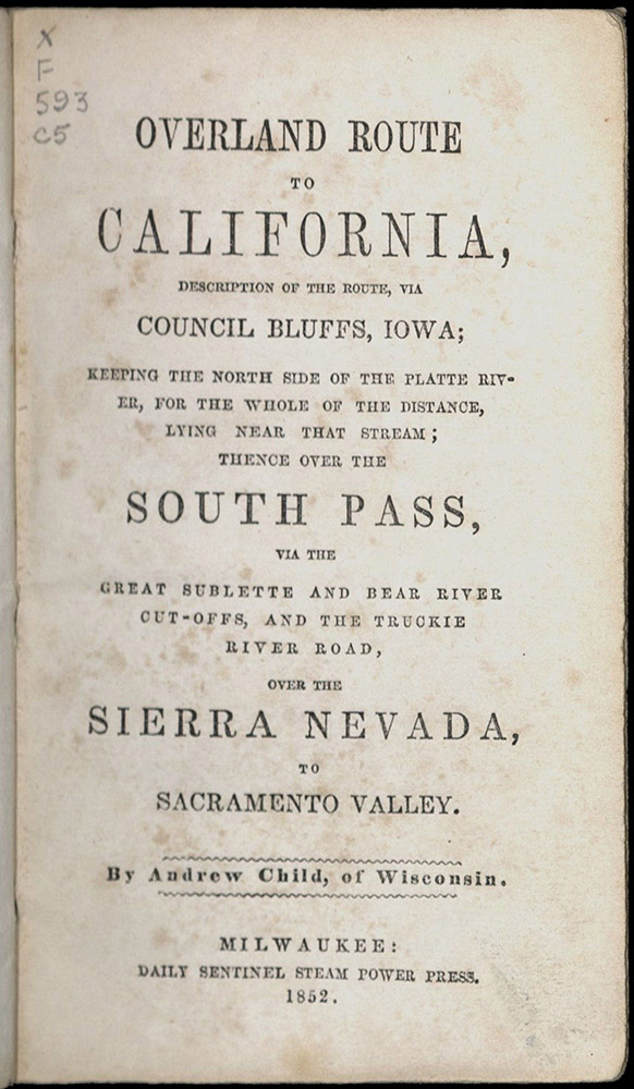 Child, Overland Route To California, 1852