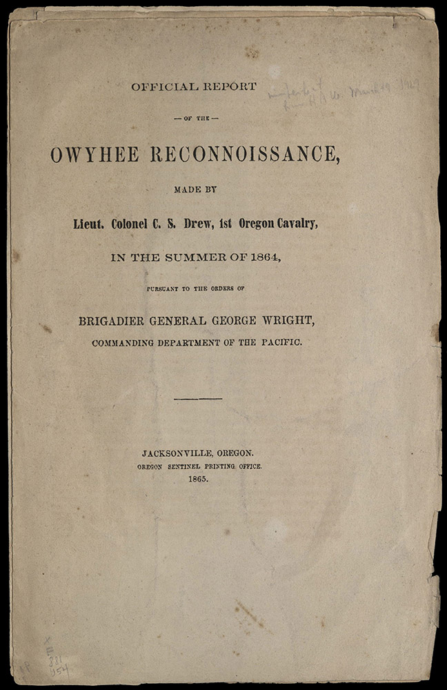 Official Report Of The Owyhee…, 1865