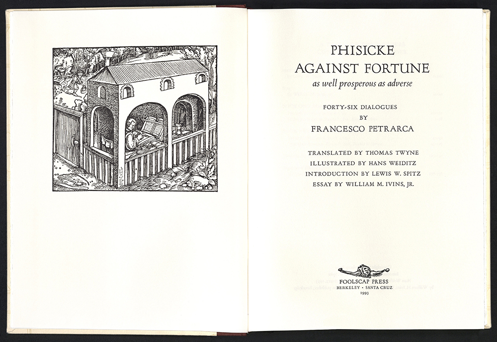 Francesco Petrarca, Phisicke against fortune, Berkeley, Foolscap Press, 1993