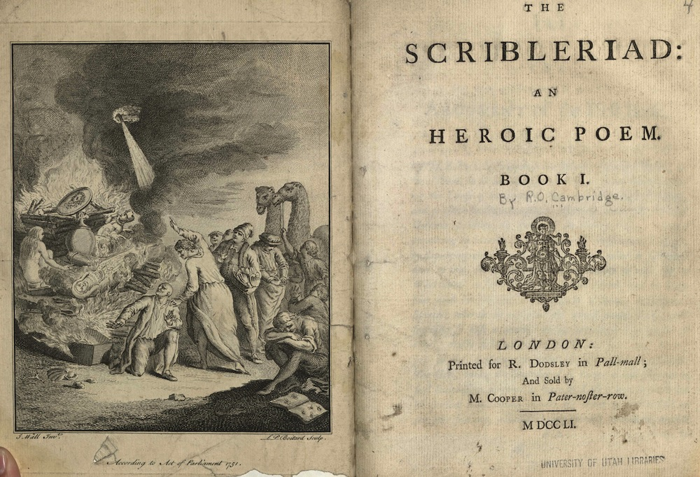 Cambridge, The scribleriad: an heroic poem, 1751