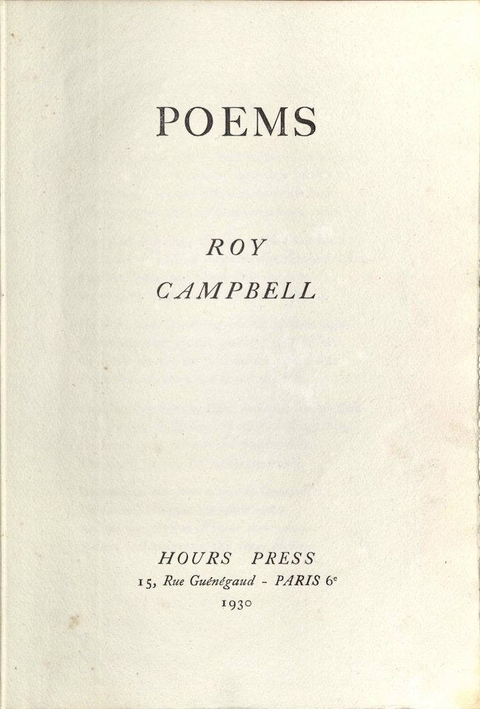 Campbell, Poems, 1930