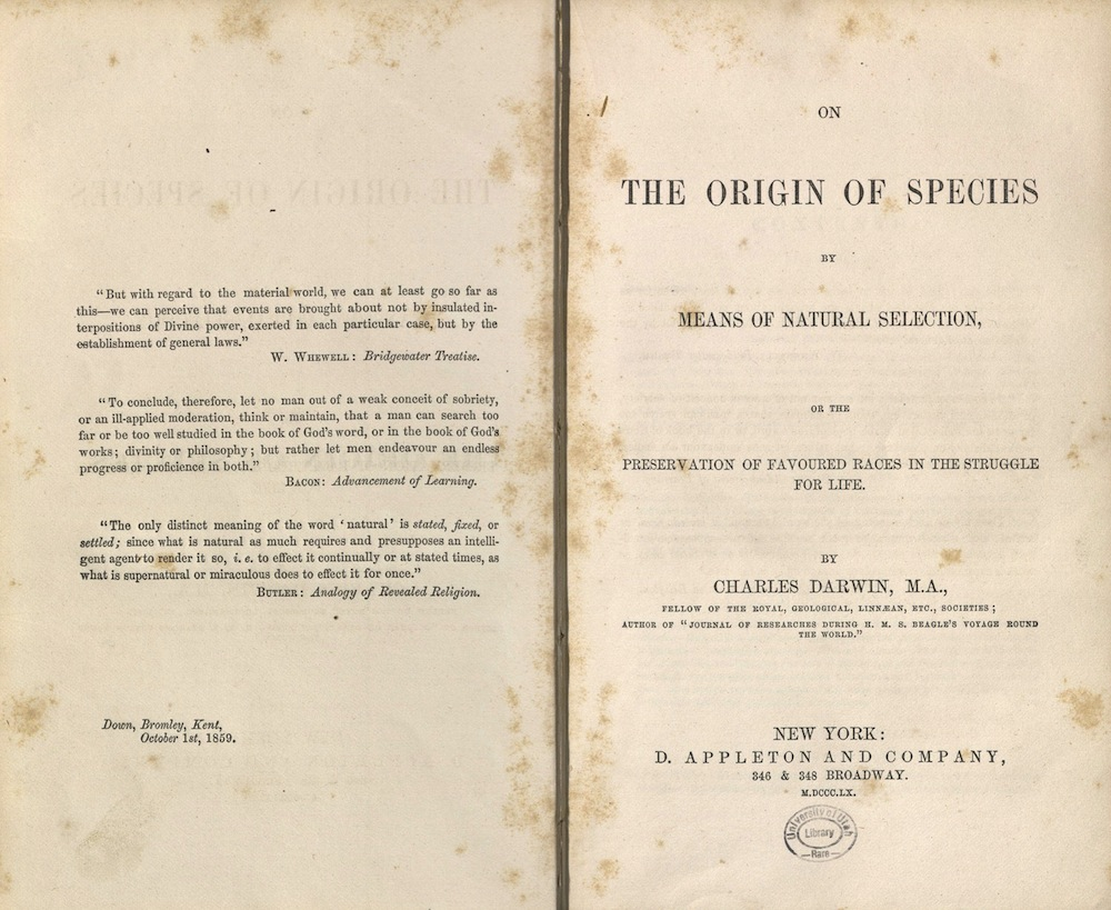Darwin, On the Orgin of Species, American Edition