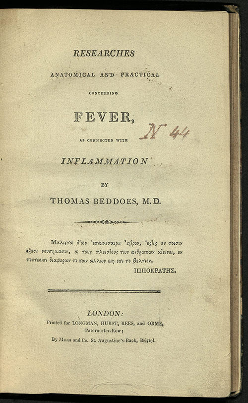 Thomas Beddoes, Reseraches Anatomical and Practical, 1807