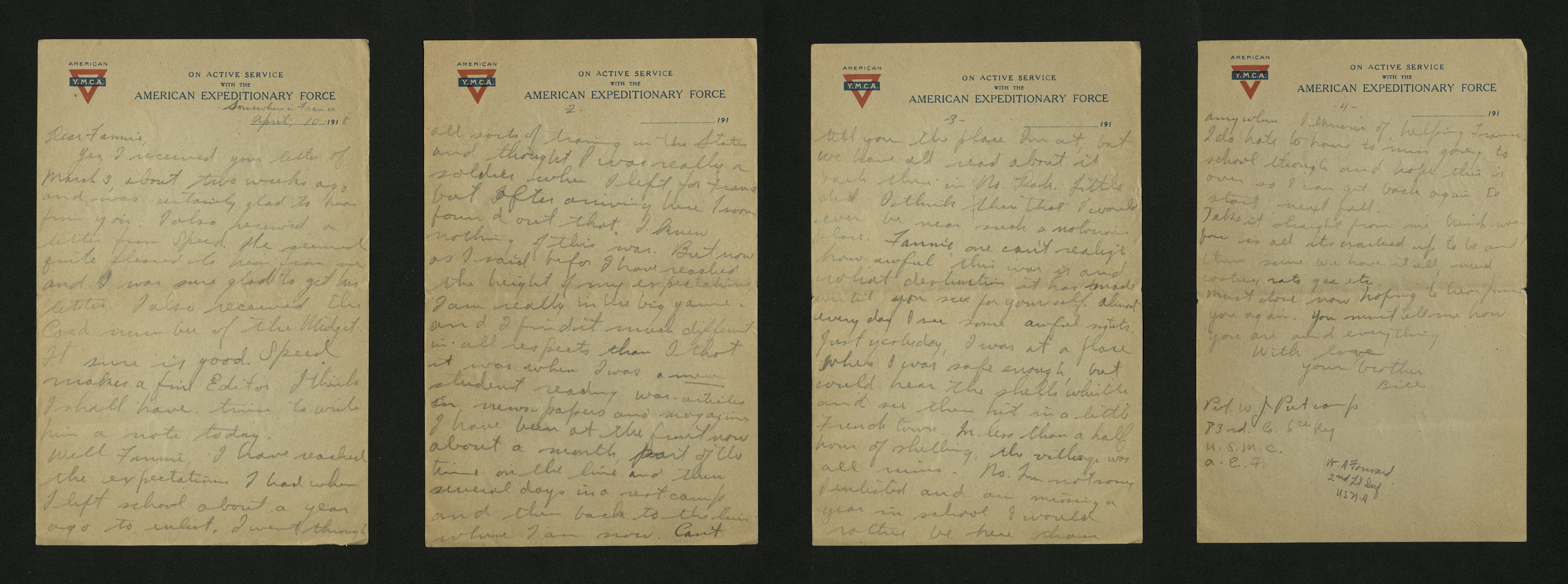Letter from William J. Putcamp to Fannie, dated 10 April 1918
