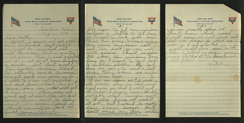 Letter from William J. Putcamp to his mpther, dated 11 August 1919